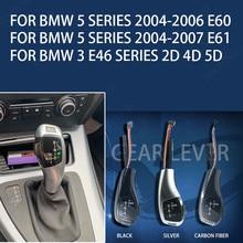 PU deri vites kolu değiştirme vites kolu vites kolu topuzu BMW 3 5 serisi için E60 E61 2004 2005 2007 E46 aksesuarları
