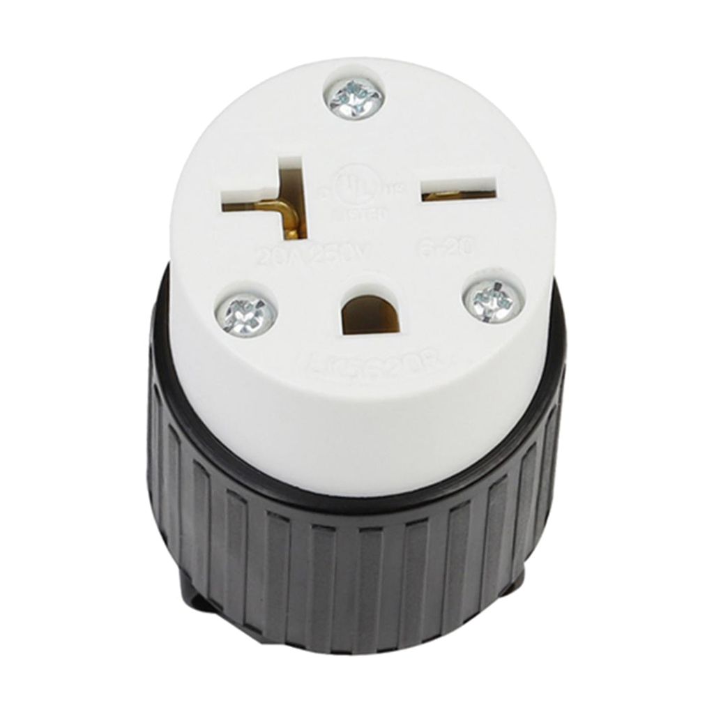 NEMA 6-20R Grounding Locking Socket, 20A 250V AC, 3 Holes Receptacle
