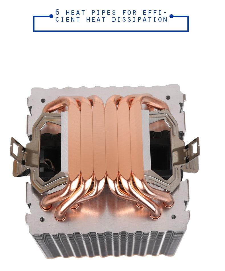 6 Heatpipes RGB CPU Cooler Radiator Silent PWM 4PIN 130W For Intel LGA 1150 1151 1155 1200 1366 2011 X79 X99 AM3 AM4 Ventilador 5