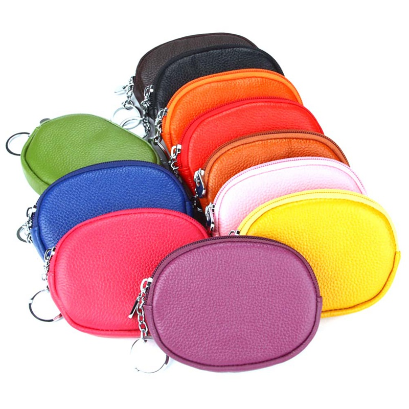 1 PC Mini Genuine Leather Coin Purse Bag Women Girls Wallets Brand Zipper Purse Small Round Clutch Card Holder Coins Purses New
