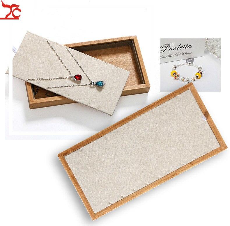 Купить с кэшбэком Bamboo Wood Ring Necklace  Jewelry Tray Pendant Bracelet Earring Jewelry Display Storage Box Jewelry Display Props