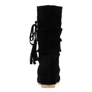 Image 3 - Morazora 2020 Hàng Mới Về Nữ Mắt Cá Chân Giày Đàn Đinh Tán Tua Rua Thu Đông Giày Bằng Giản Nữ Big Size 33 52