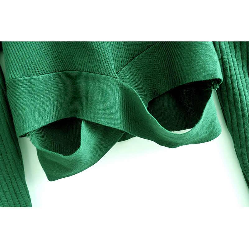 AGong O คอไม่สมมาตรเสื้อกันหนาวผู้หญิงแฟชั่นสีเขียวพับเสื้อกันหนาวผู้หญิงพัฟแขนเสื้อกันหนาวหญิงสุภาพสตรี JAE