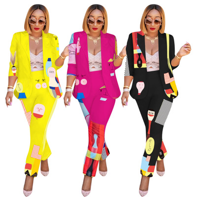 European and American women's 2020 printing casual light cooked temperament commuter long-sleeved suit pants suit