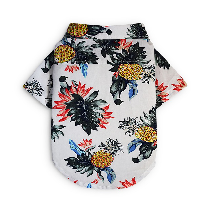 Summer Pet Travel Shirt Beach Shirt Dog Cute Print Hawaii Beach Casual Pineapple Short Sleeve Small Dog Cat Blouse