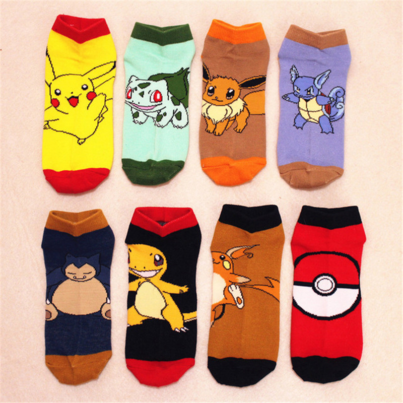 Anime Pokemon Pikachu Pocket Monster Cosplay Prop Ankle Socks Hose Cartoon Snorlax Charmander Cotton Sock Kids Child Stockings