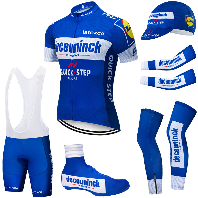 TEAM BLUE QUICK STEP cycling clothing 20D bike shorts FULL Suit Ropa Ciclismo quick dry bicycling jersey Maillot sleeves warmers