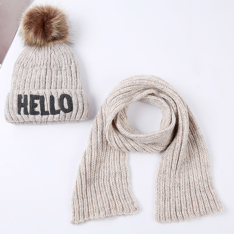 2-10years Boys Girls Fleece Lined Beanie Scarf Set Children Knitted Pom Pom Hat With Scarf Winter 2pcs Set Letters HELLO
