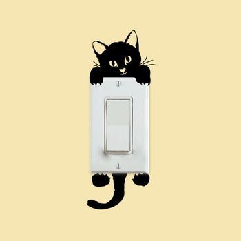 Na włącznik światła z uroczym kotkiem telefon naklejki ścienne dla pokoje dla dzieci dekoracji wnętrz zwierzęta kreskówkowe naklejki ścienne tapeta pcv ozdoby do dekoracji wnętrz tanie i dobre opinie CN (pochodzenie) Nowoczesne Jednoczęściowy pakiet 6x14cm 1 PC As the pics shown Dropshipping