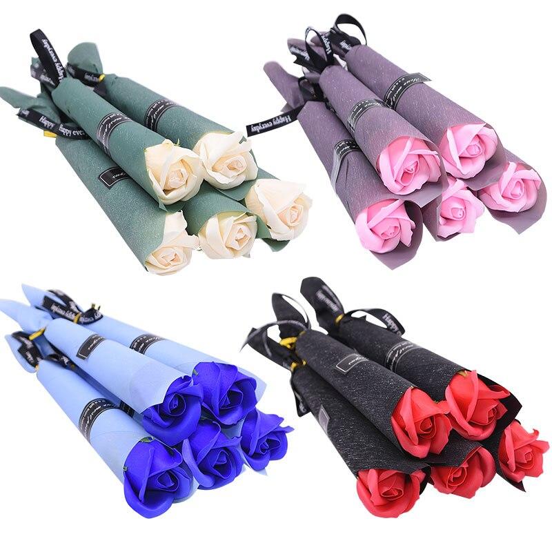 5/10pcs Soap Rose Artificial Flower Girl Friend Valentine's Day Gift Anniversary Flower Set Fake Rose Soap Flower Wedding Decor(China)