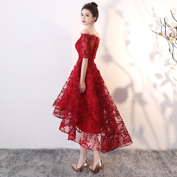 Wine Red Lace High Low Prom Dresses 2020 Elegant Boat Neck Off The Shoulder Short Front Long Back Plus Size Homecoming Dresses 2