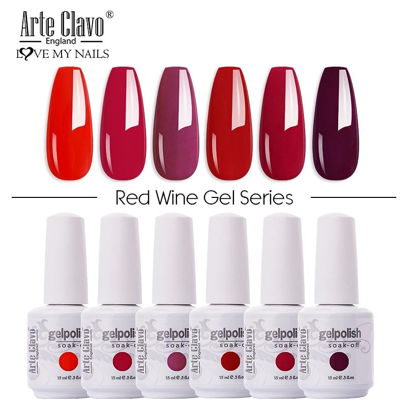 Arte Clavo 375 Colors Gel Nail Polish Red Gel UV Nail Base Top Gel Polish Soak Off UV Varnish Gel Paint Nail Art Hybrid Lacquer
