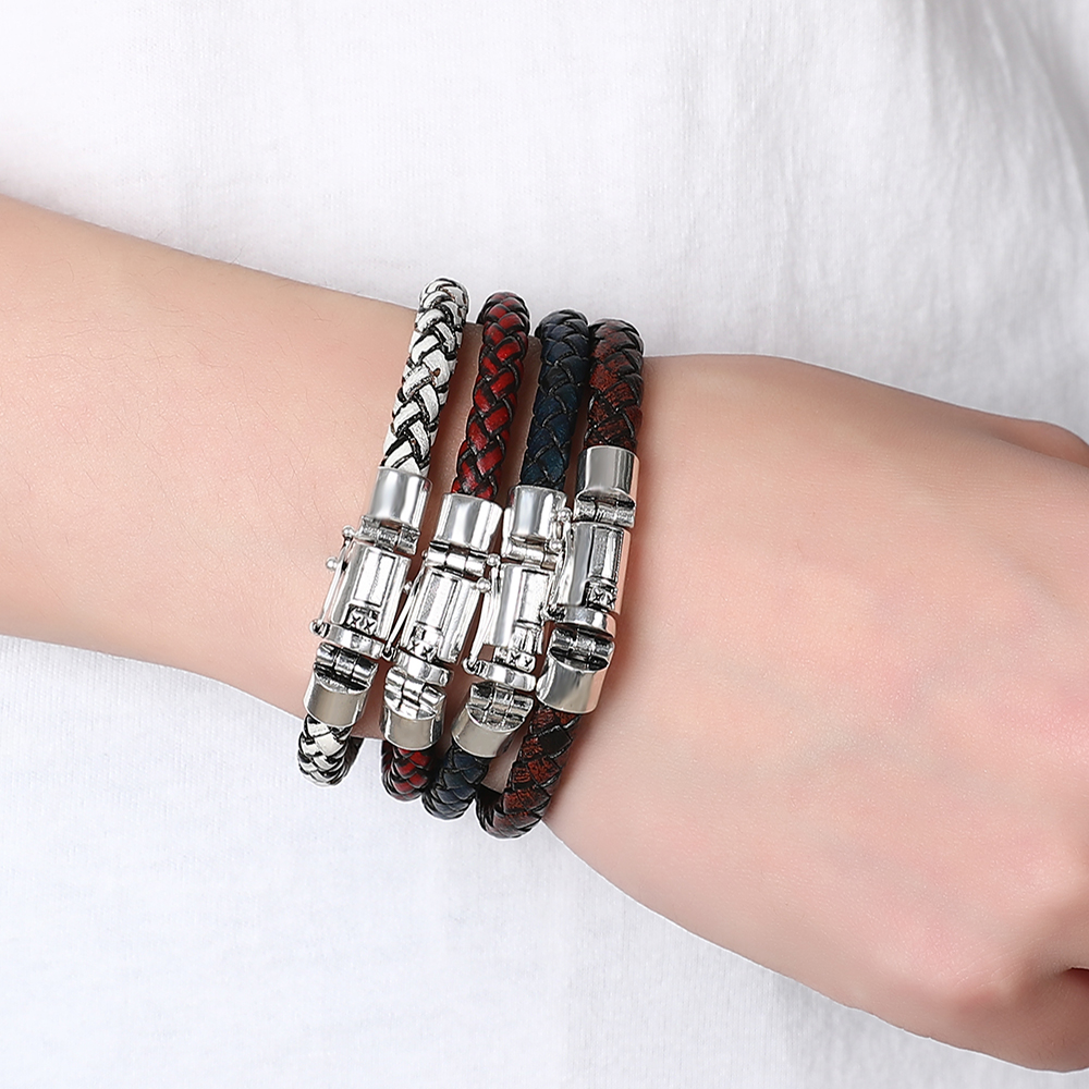 Buda pulseira 2019 moda corrente de couro genuíno pulseira de couro dos homens do vintage masculino trança jóias para mulher homem