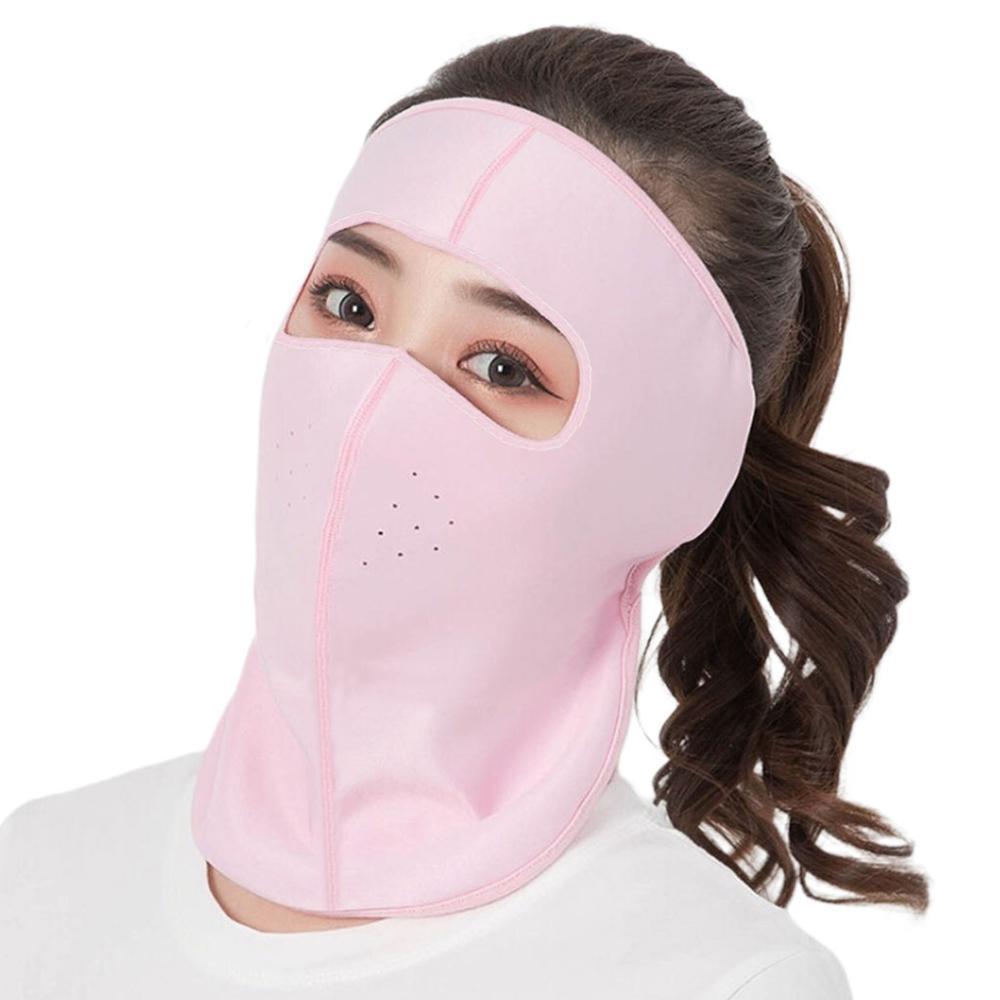 Women Thin Breathable Ice Silk Sunscreen Long Neck Full Face Mask Summer UV Protection Cycling Outdoor Beach Earloop Respirator