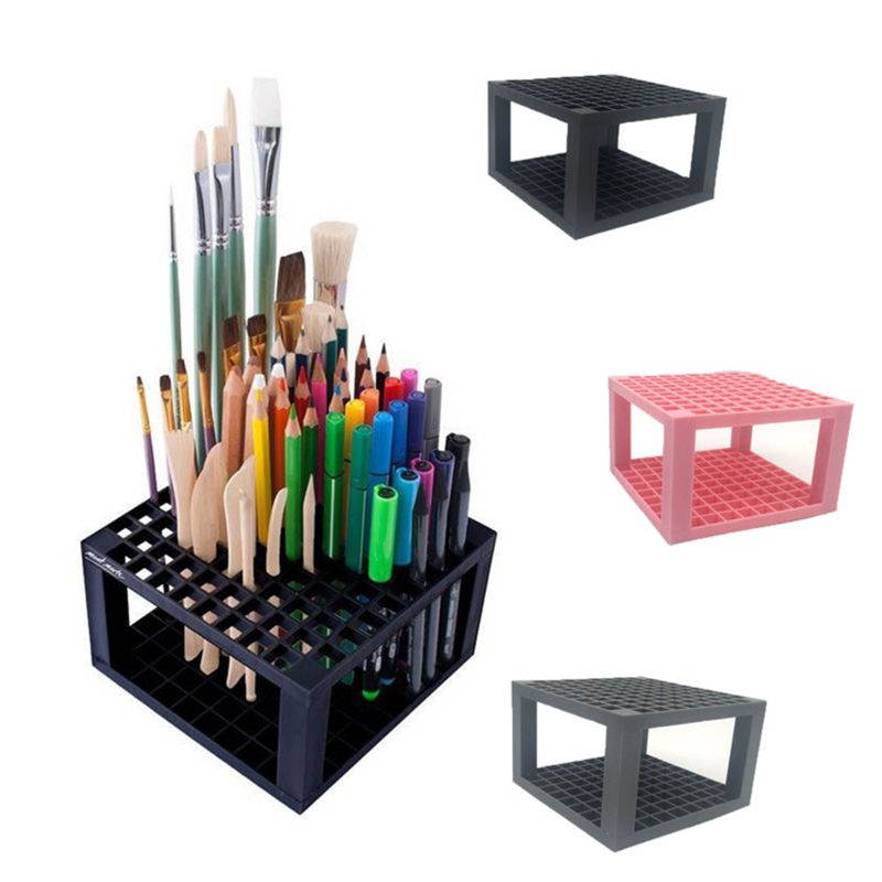 96 Hole Plastic Pencil & Brush Holder Desk Stand Organizer Holding Rack For Pens, Paint Brushes, Colored Pencils, Makeup Brushes