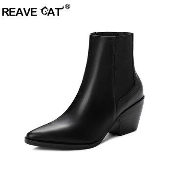 REAVE gato tobillo botas puntiagudas talón cuadrado serpiente estampado elástico moda Casual botas para mujer talla grande 34 -43 negro blanco