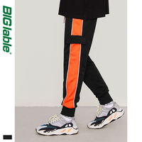 BIG LABLE Side Retro Men Track Pants Loose  Men Sweatpants High Street Men Sweatpants Loose Fit Black Men Sweatpants 8837W