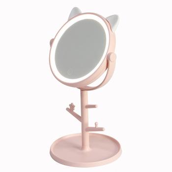 1 sztuk makijaż LED lusterko stołowe pulpit blat baza wykorzystanie do łazienki podróży zwykłe różowe ucho kota LED lustro z kablem USB tanie i dobre opinie Wyposażone CN (pochodzenie) Lustro do makijażu 31*15 5*2cm Podświetlany Pink White With LED light and storage box Battery + USB cable