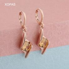 Fashion statement 585 Rose Gold Earrings Round Geometric Cubic Zircon For Women Hanging Dangle modern Jewelry