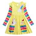 Платье с длинными рукавами и единорогом для девочек платье для малышей с рисунком Маленького Пони хлопковое осеннее дышащее платье средней...