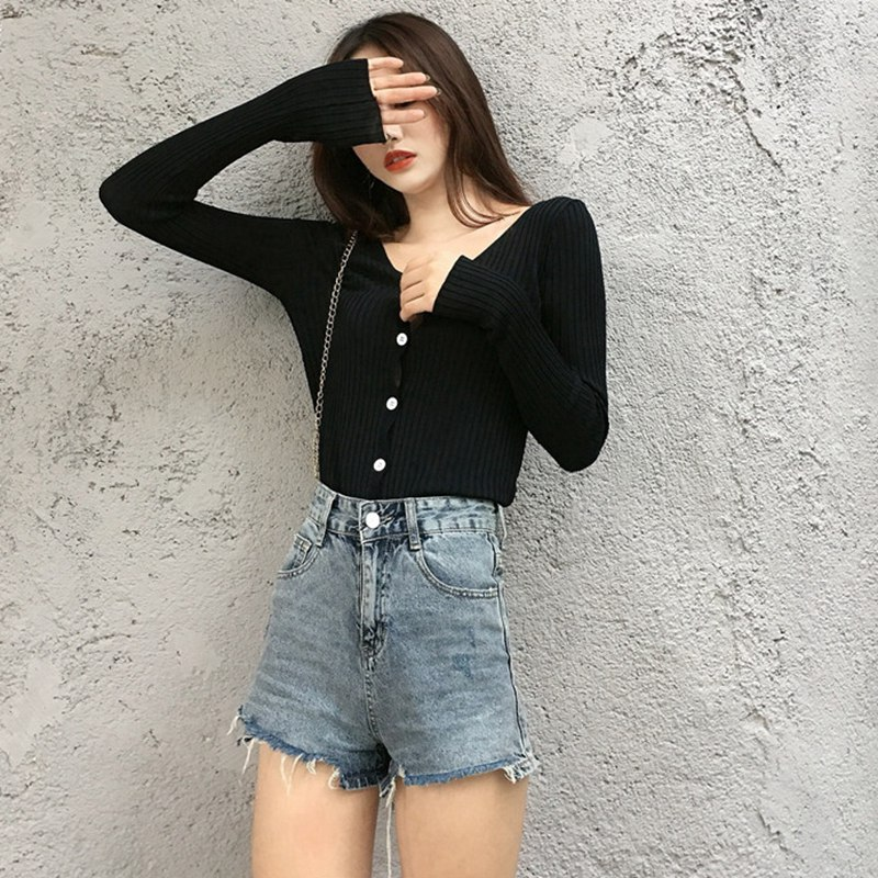 Autumn Women Knit Cardigan Contrast Color V-neck Long-sleeved Solid Color Sweater Slim Button Knit Cardigan Y6