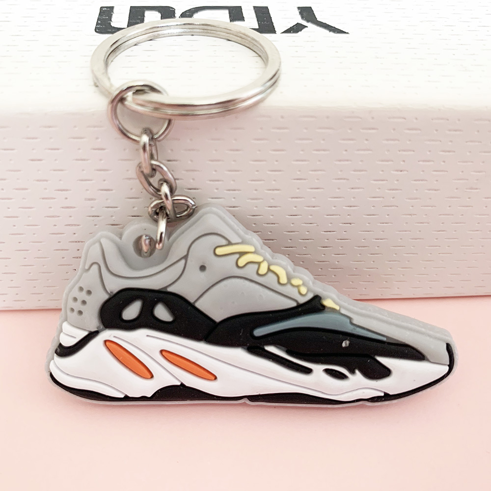 New Color Mini Silicone Jordan Keychain Woman Bag Charm Men Kids Key Ring Gifts Sneaker Shoes WAVE RUNNER Key Chain