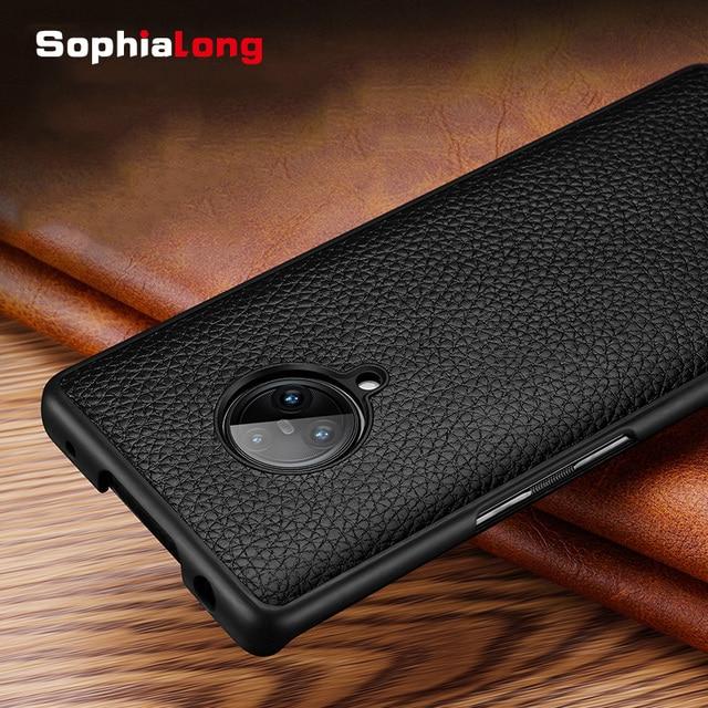 SophiaLong מקרי עבור Vivo Nex 3 Coque אמיתי עור מקרה עבור Vivo Nex 3 NEX3 טלפון כיסוי שיכון עם ליץ דפוס Fundas