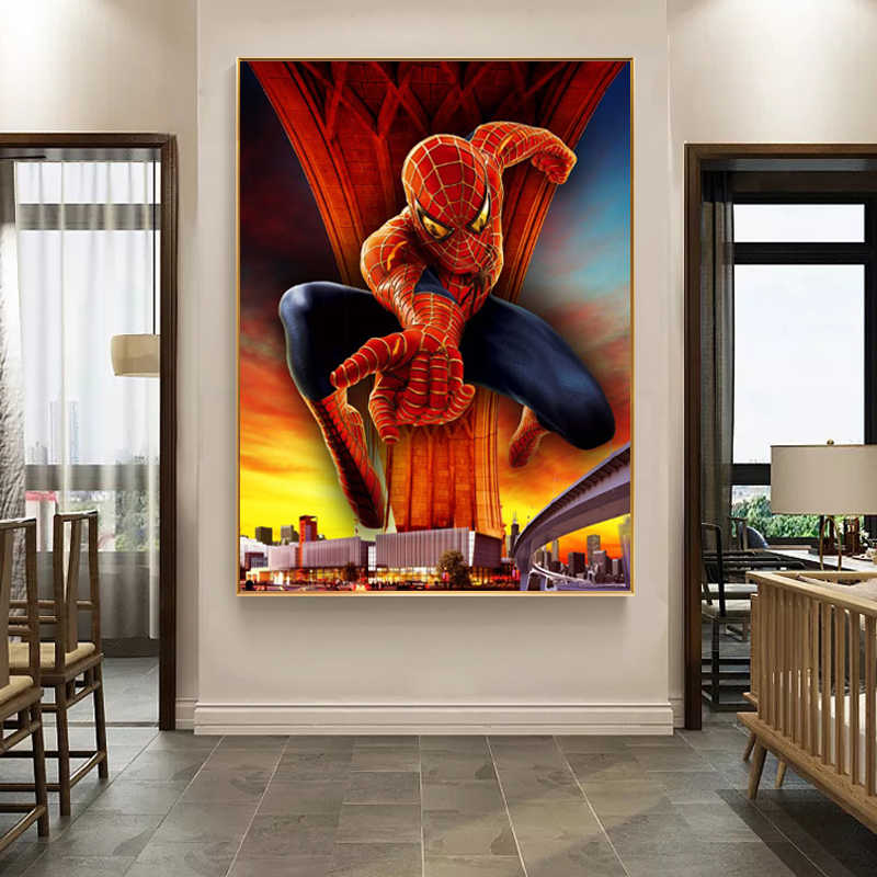Movie Portrait Art Posters and Prints Wall Art Canvas Painting Super Hero Spider boy picture for Living Room Home Decor No Frame
