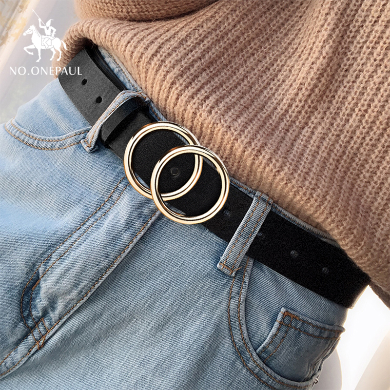 Designer's famous brand leather high quality belt fashion alloy double ring circle buckle girl jeans wild belts