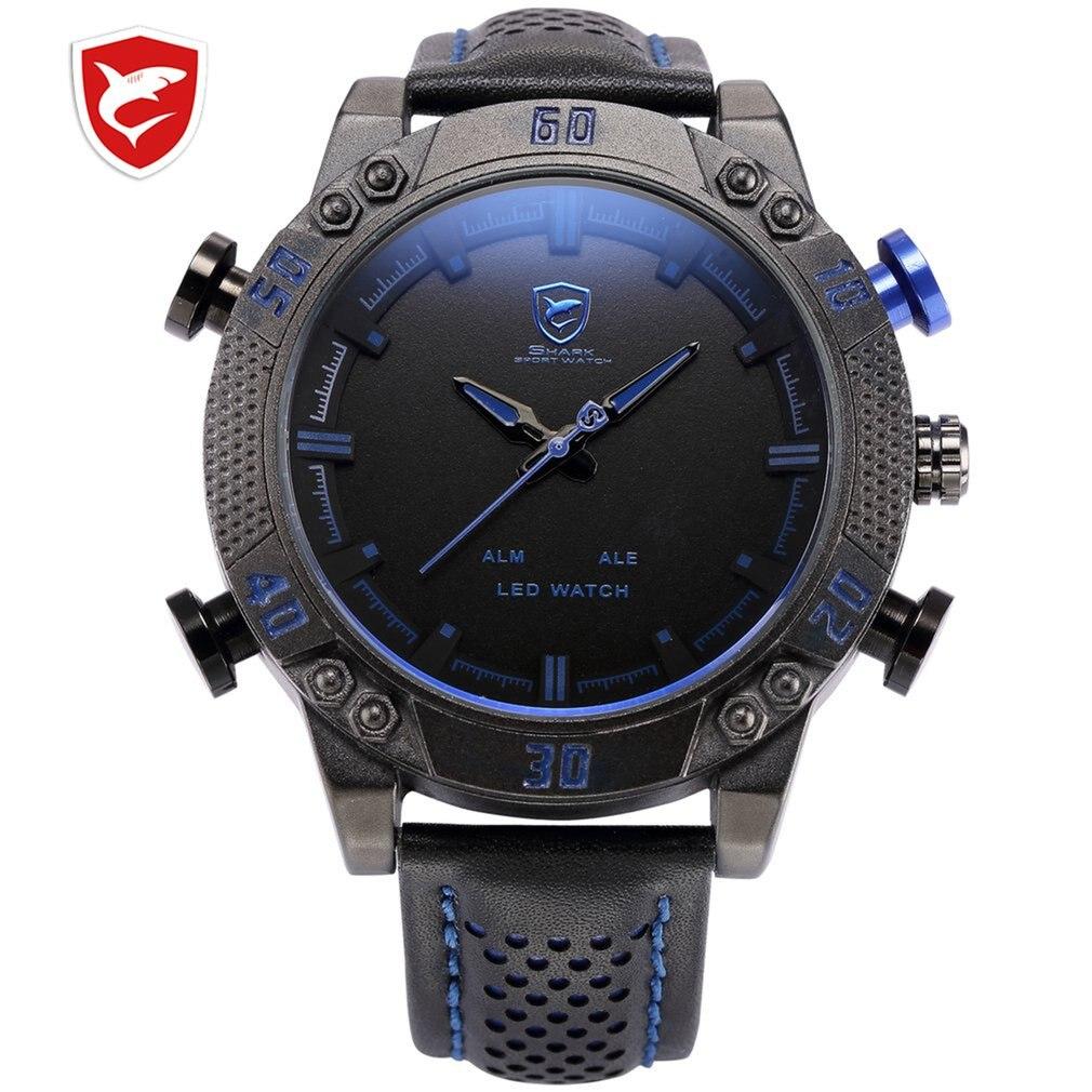 SH261 Kitefin Shark Sport Watch Brand Mens Military Quartz Red LED Hour Analog Digital Date Alarm Leather Wrist Watches Relogio