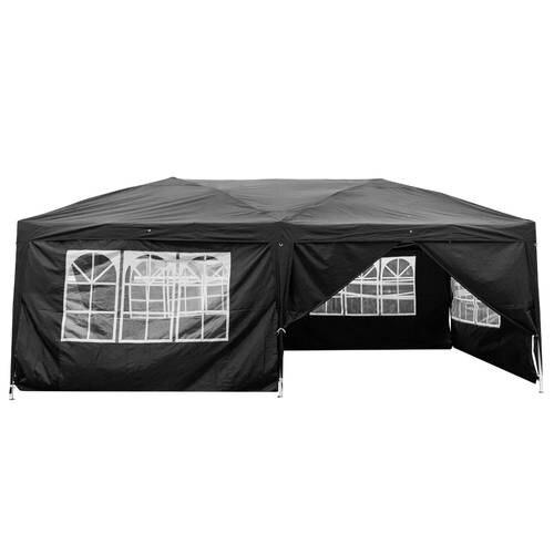 3 x 6m Four Windows Practical Waterproof Folding Tent Black - 6