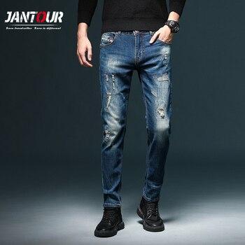 Fashion High quality Mens Jeans Retro Design Slim Fit Denim Ripped Pants Brand Clothing Nostalgia Color Biker