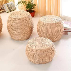 Natural Straw Handmade Cushion Living Room Round Tatami Wood Change Shoes Stool Small Coffee Table Wood Bench(China)