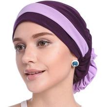 2020 stretch inner hijab caps muslim hat turban femme musulman turbante ready to wear hijab bonnet flower indian headwrap chemo