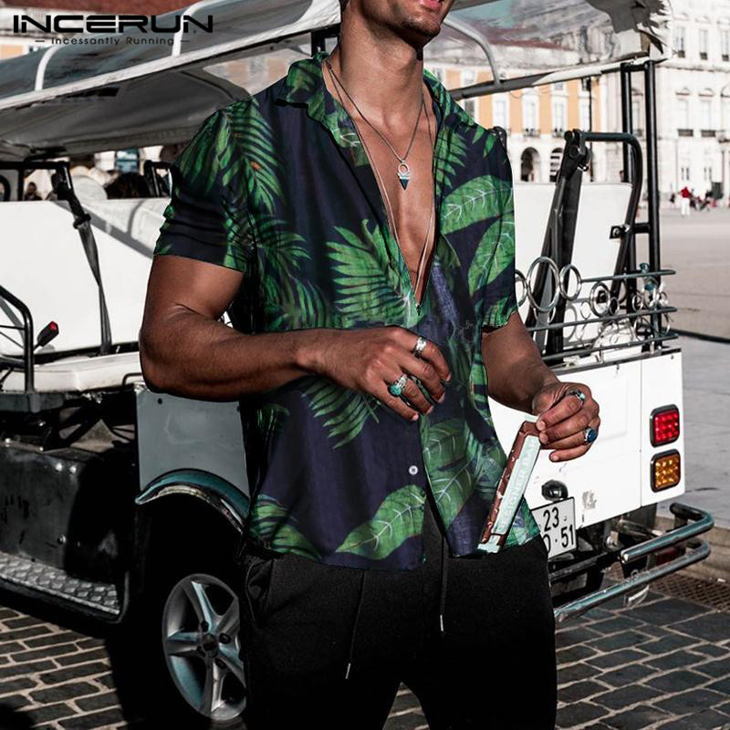 2019 Seaside Shirts Tropical Shirts Floral Summer Men Tops Casual Hawaiian Shirt Short Sleeve Cotton Lapel Button Camisa Tee