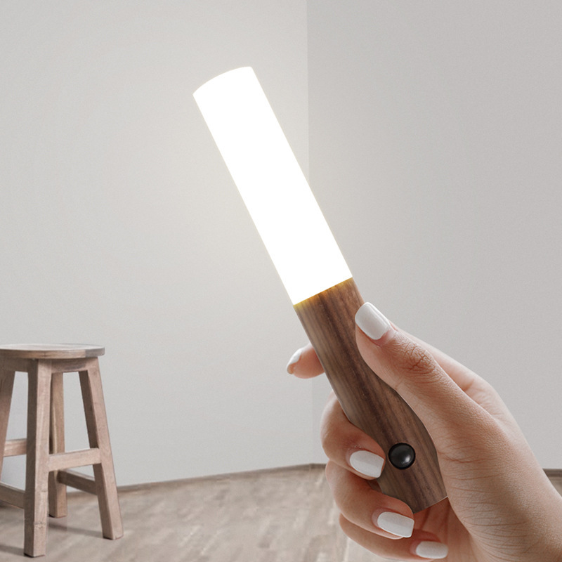 Creative Intelligent Auto PIR Motion Sensor LED Rechargeable Magnetic Night Light Wood Wall Light Kitchen Cabinet Light Lamp