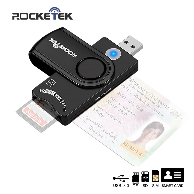Rocketek USB 3.0 2.0 Multi Smart Card Reader SD/TF Micro SD Memory ,ID,Bank Card,sim Cloner Connector Adapter Pc Computer