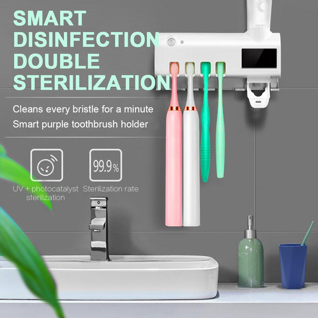 Soporte para cepillo de dientes 3 en 1 antibacterial UV dispensador automático de pasta de dientes esterilizar el limpiador del hogar esterilizar los accesorios del baño Soporte de linterna para casco táctico, Stents de linterna negra para escalada al aire libre, F2, accesorios para casco, soporte para linterna