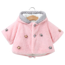 Baby Infant Girls Fur Winter Warm Coat 2019 Cloak Jacket Thick Warm Flower Clothes Baby Girl Cute Rabbit Ear Hooded Coats Jacket все цены