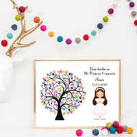 Canvas Poster Fingerprint Guest Book For Girls Boys First Communion DIY Baby Baptism Decor Girls Birthday Gifts Party Souvenir