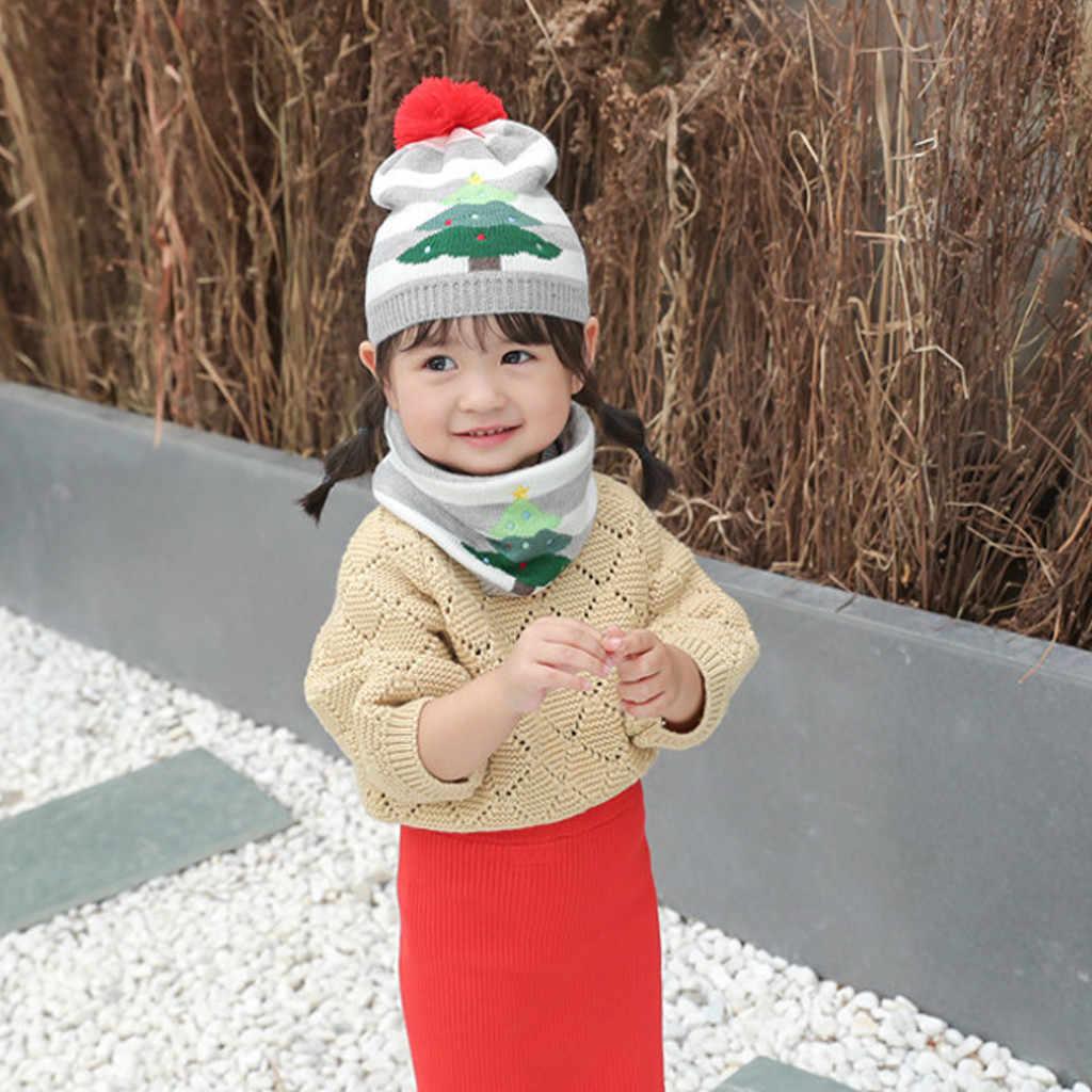 เด็กทารกใหม่เด็กฤดูหนาวเด็กหมวกนุ่มหมวกหมวก Beanie หมวกคริสต์มาสโครเชต์ความยืดหยุ่นถักหมวกเด็กอบอุ่น Hairball หมวก