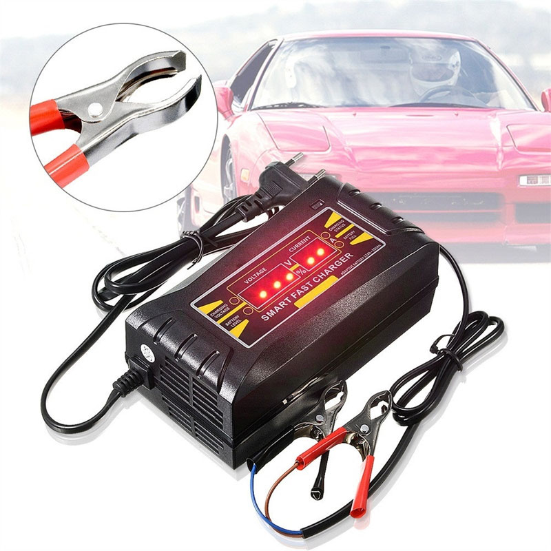 Vehemo 12V/6A Car Battery Charger Booster LED Light Car Jump Starter Kit Power Supply Automobile Intelligent Battery