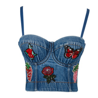 Sexy Embroidery Denim Crop Top Women Backless Short Blue Top Summer Casual Vest