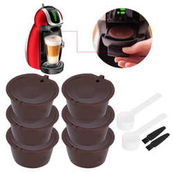 6Pcs Coffee Capsule Filter Cup Reusable Refillable Coffee Filter Pods with Spoon Brush Fit for DOLCE GUSTO Coffee Machines