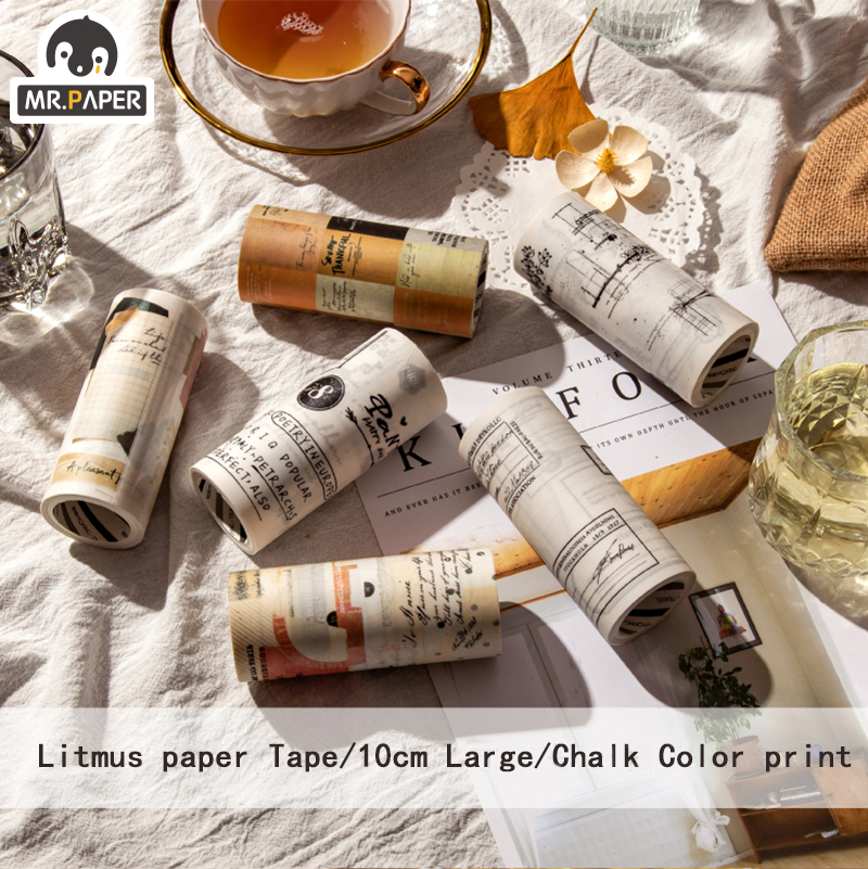 Mr.Paper Retro Litmus Index Waterproof Number Daily Style Bullet Journaling Writing Tape Deco Holiday Masking Tapes Easy To Tear
