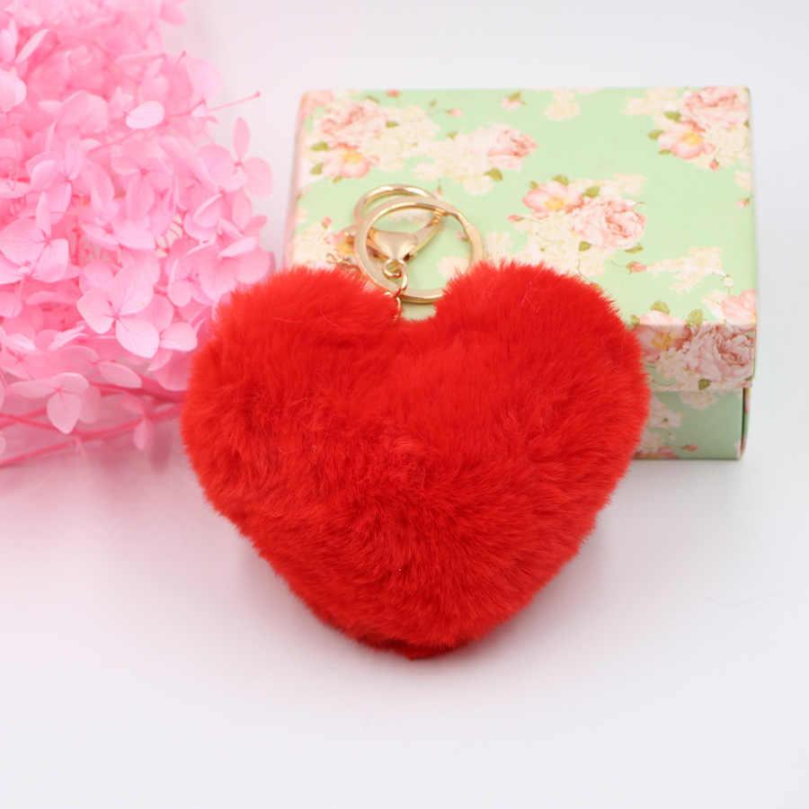 Coração grande Amor 10 centímetros Imitação Rex Pele De Coelho Bola Pompom Keychain Macio Chaveiros para Mochila Saco Cadeia Chave Do Carro llavero Mujer