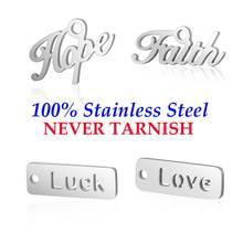 10 штук Dream Faith Happy Love Hope Tag Шарм нержавеющая сталь Настоящее 316 сталь DIY ааааа качественные подвески