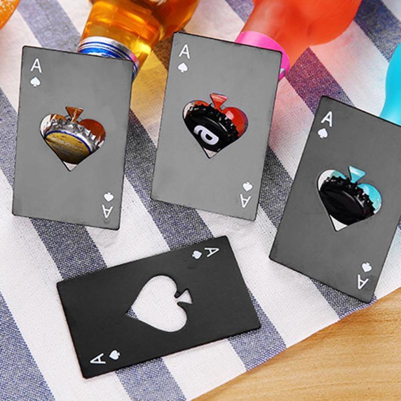 Black Stainless Steel Ace Of Spades Card Novelty Beer Bottle Opener Poker Mini Spade A Poker Card Beer Bottle Opener Personalize