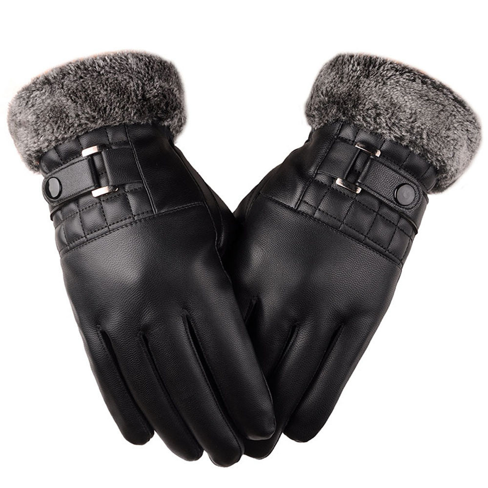 Men Leather Touch Screen Gloves with Good Thermal Performance for Winter to Keep Hands Warm Useful for Touch Screen Device Without Exposing Hands