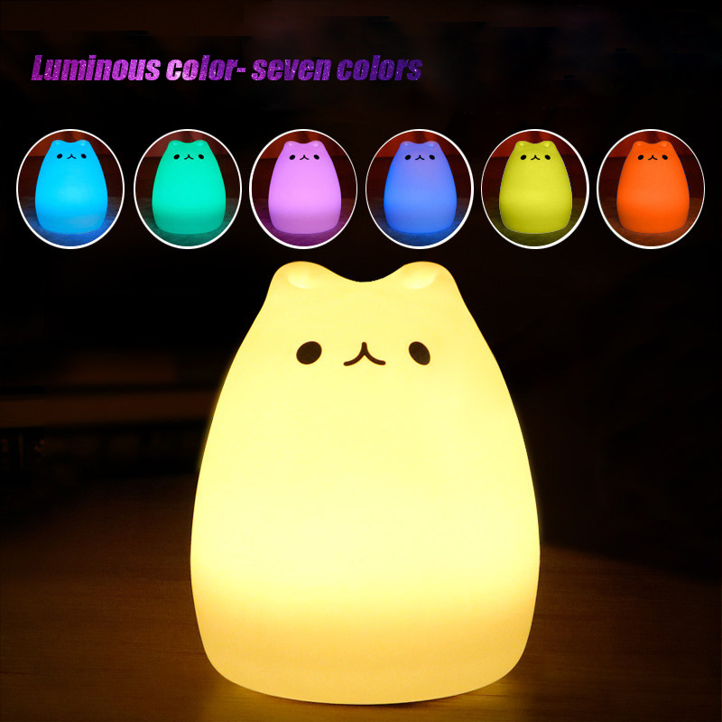 Cat Nightlight Mini Cute Lamp Cartoon Pat Light Lamp Soft Silicone Nightlight Battery Operated Baby Toys Room Decor Bedroom Lamp